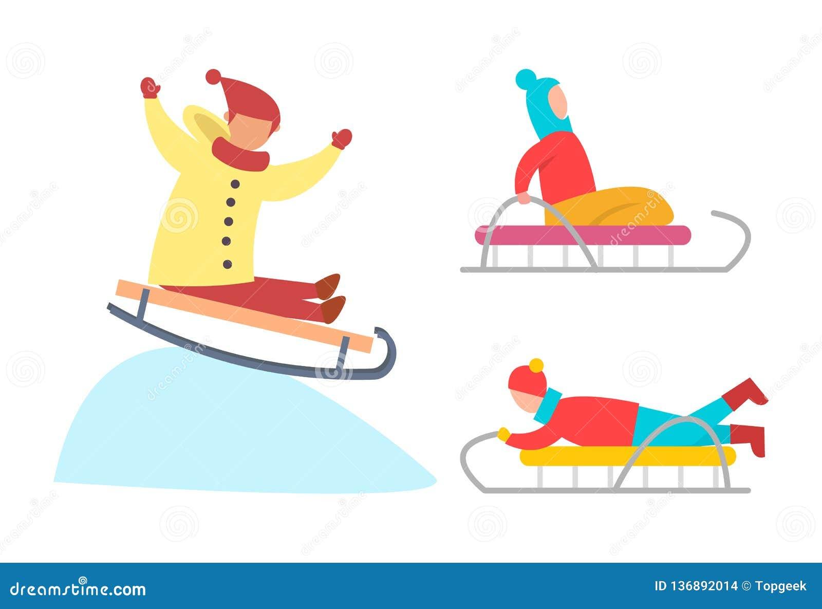 Children Sledding Down Snowy Ice Slopes Vector