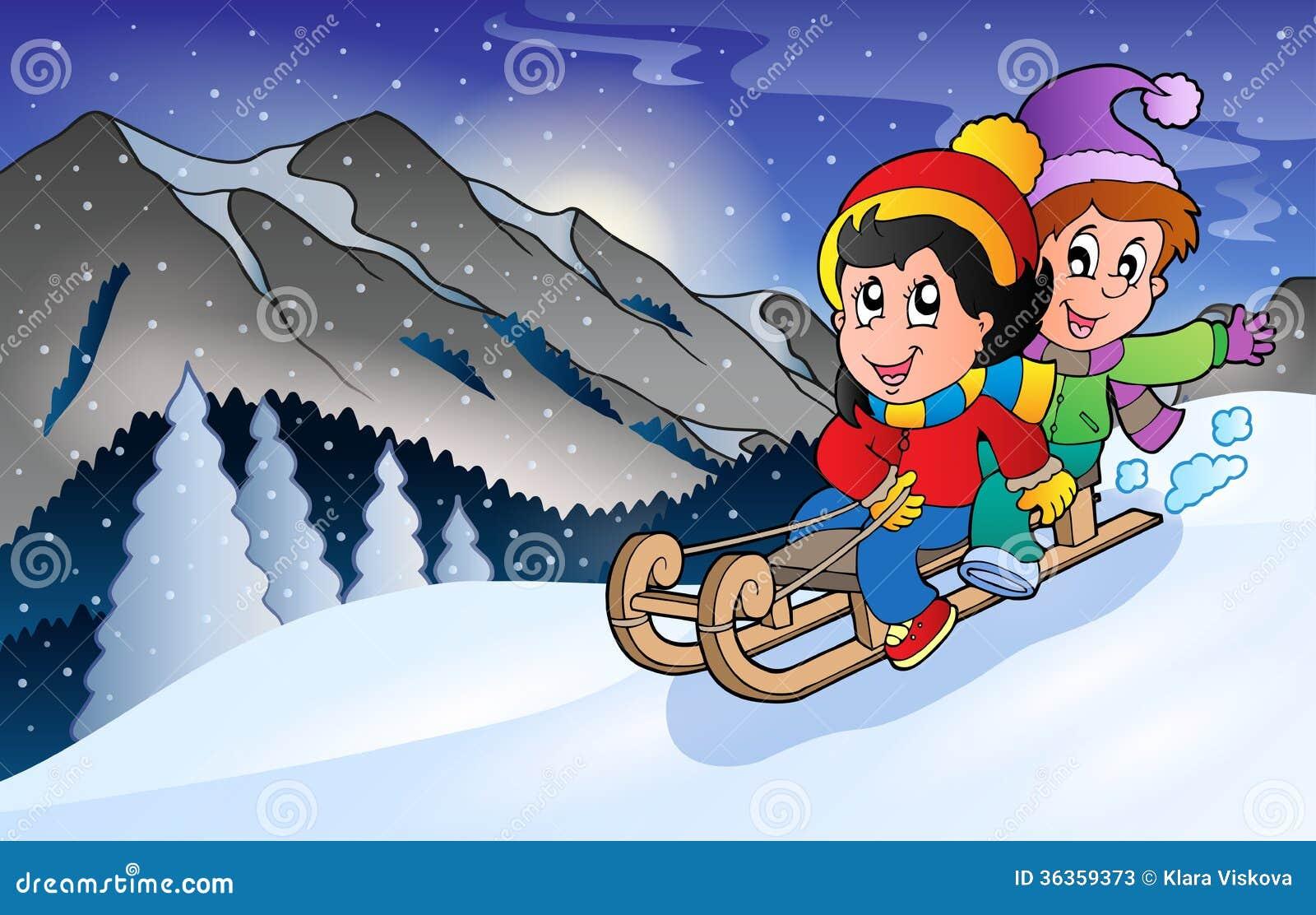 children on sledge in winter stock vector