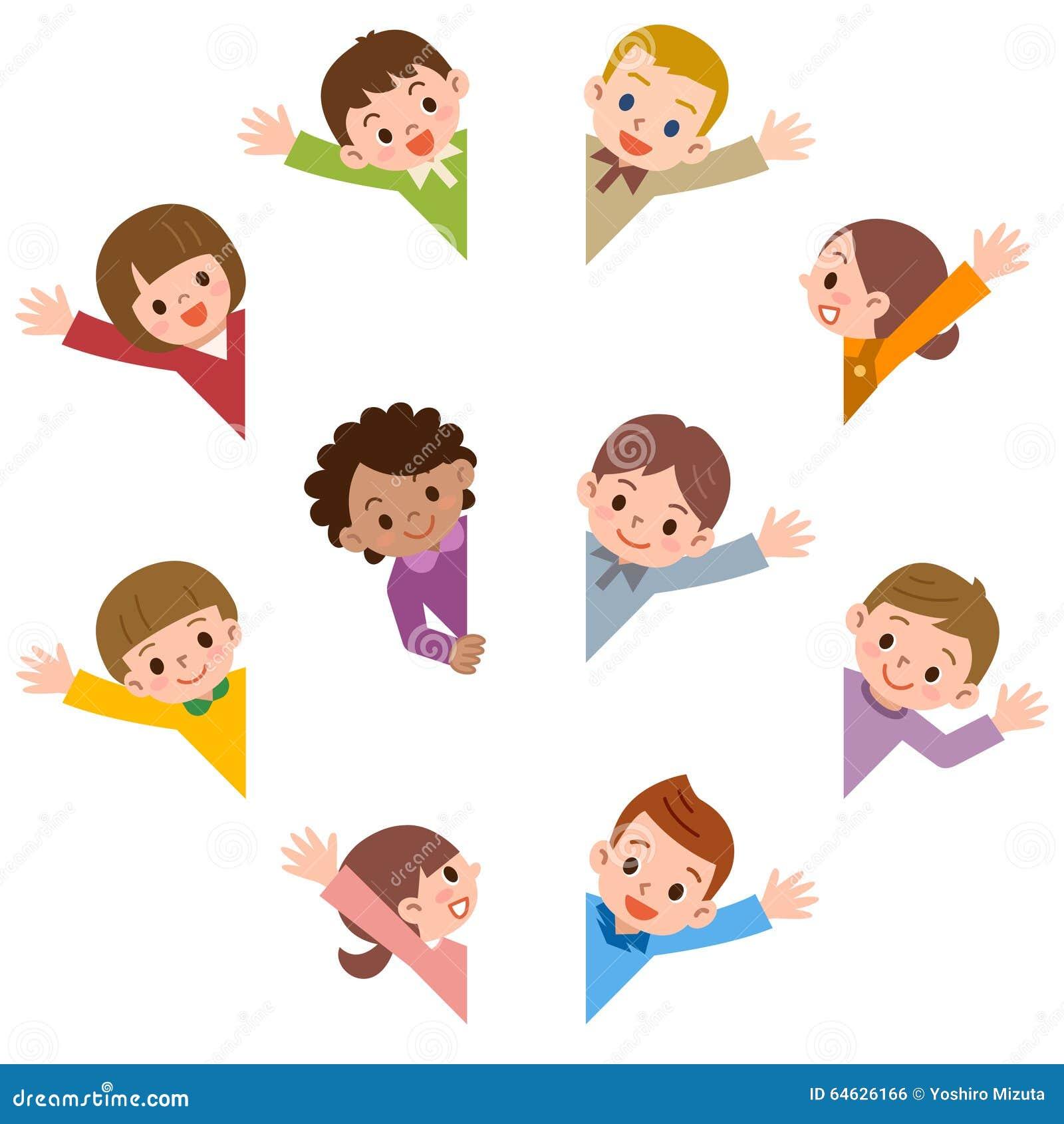 Children Smile Waving Stock Vector - Image: 64626166