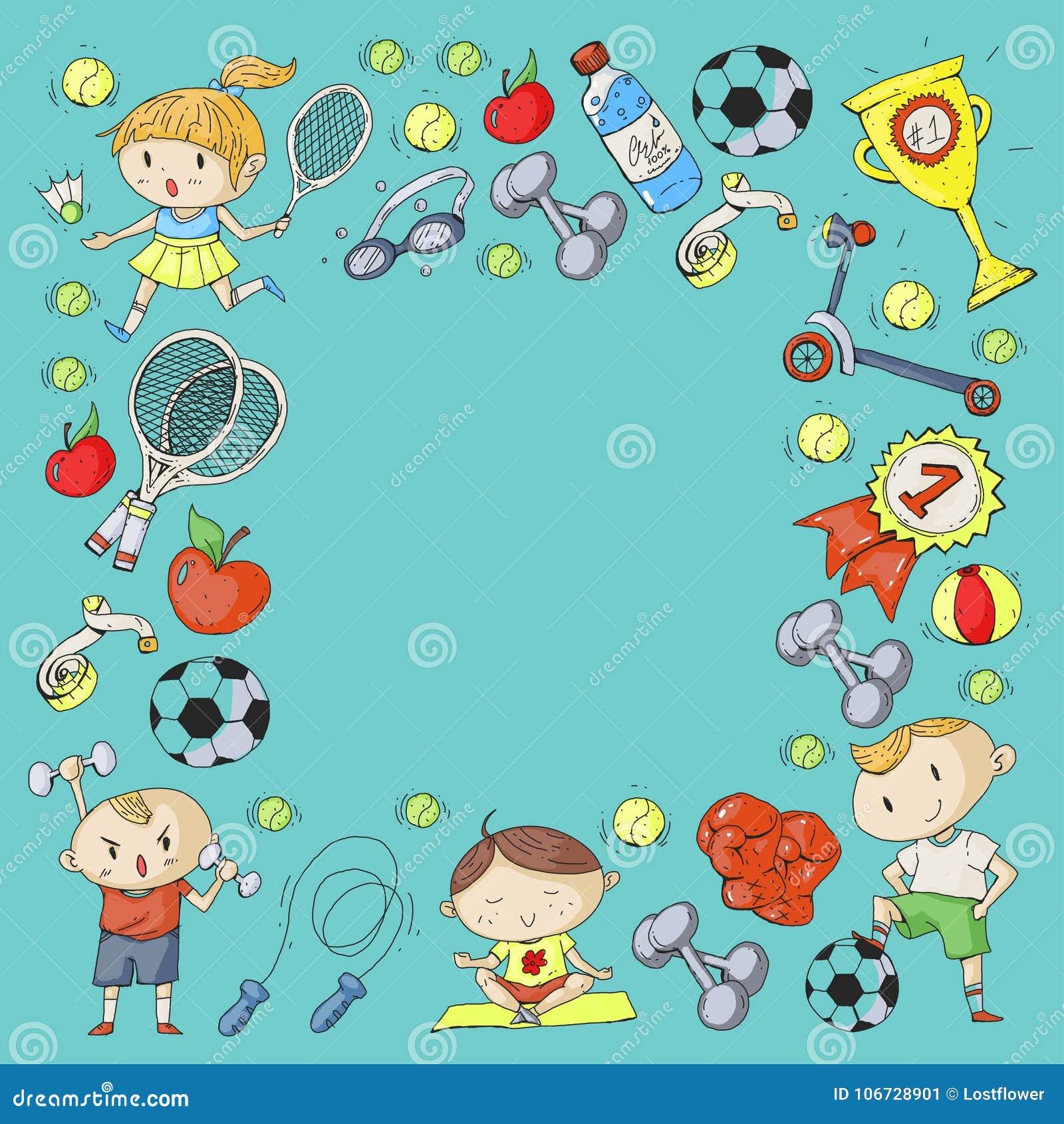 Children Sport. Kids Drawing. Kindergarten, School, College ...
