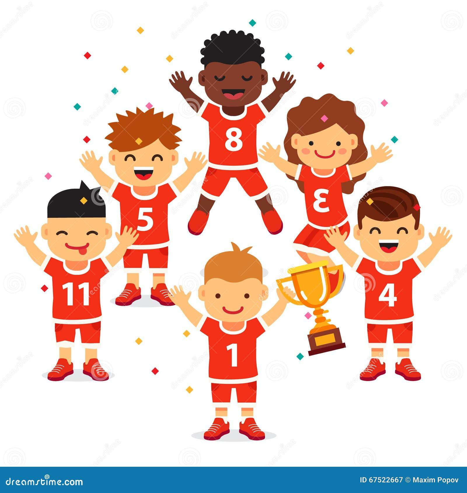 children sports team wins a golden cup cartoon vector basketball player clipart basketball player clipart images
