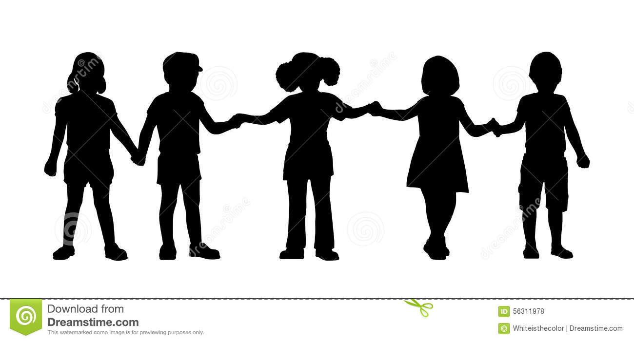Children Standing Silhouettes Set 8 Stock Illustration ...