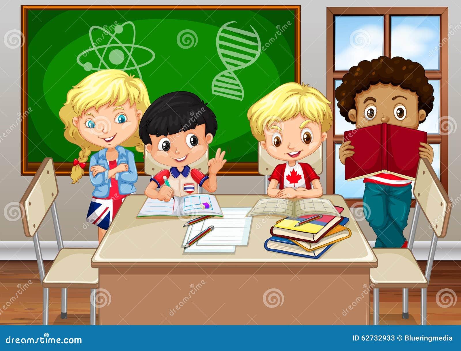 Dibujos Animados De Animales Estudiando: Children Studying In The Classroom Cartoon Vector