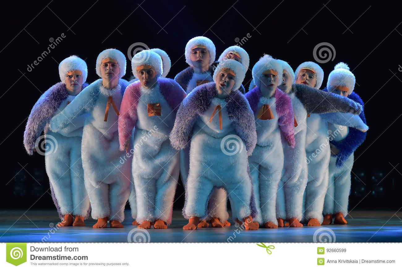 Download Children In A Suit Of Penguins Dance On A Stage, Children`s Danc Editorial Stock Image - Image of black, dress: 92660599