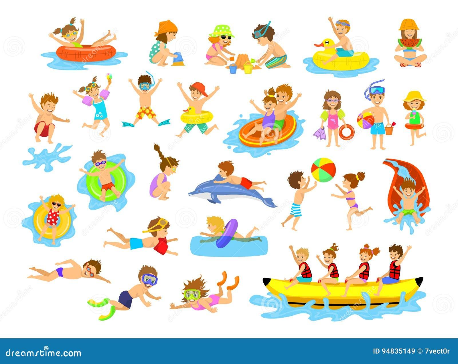 Children Summer Holidays Fun Activities On The Beach Stock Vector