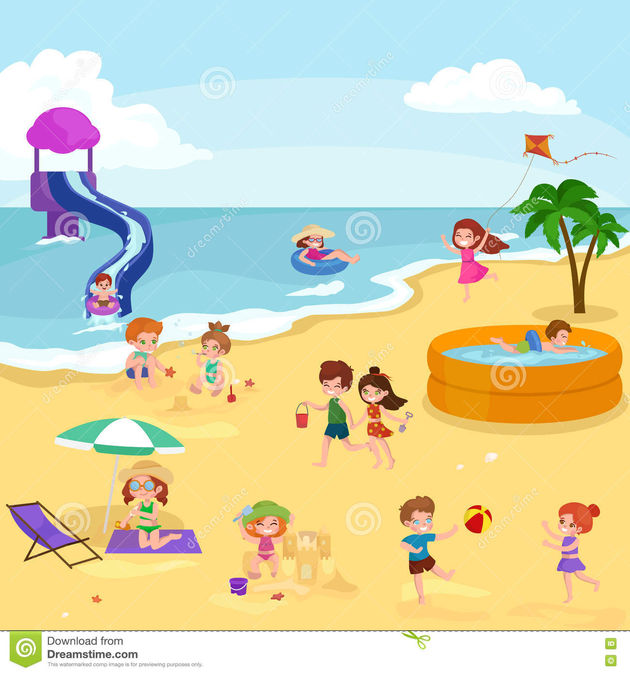 Adorable Little Girl Playing With Beach Toys During: Children Summer Vacation. Kids Playing Sand Around Water