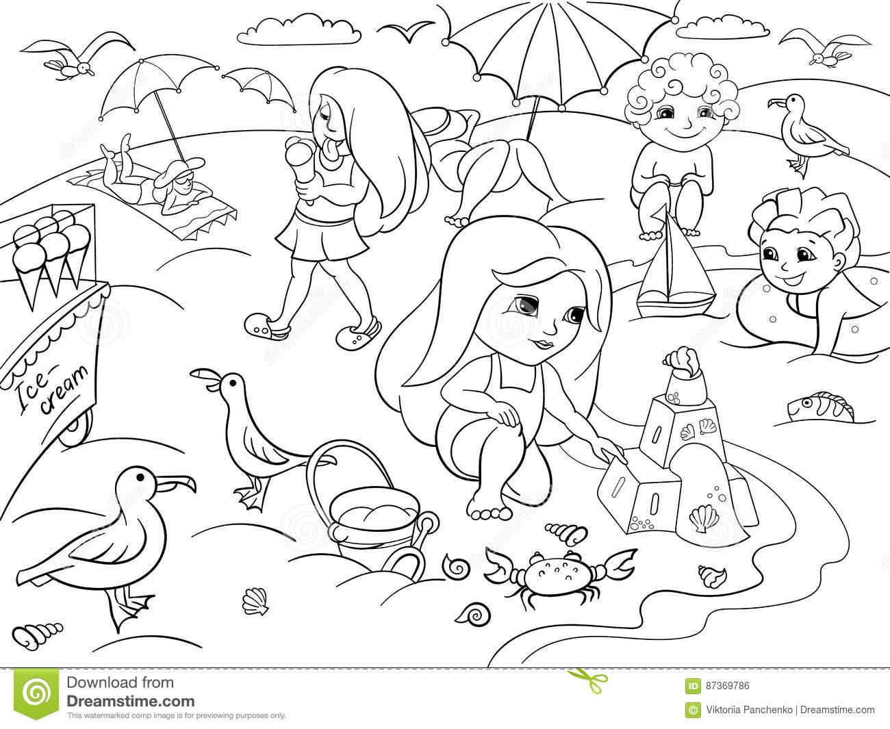 Black And White Beach Cartoon Pictures