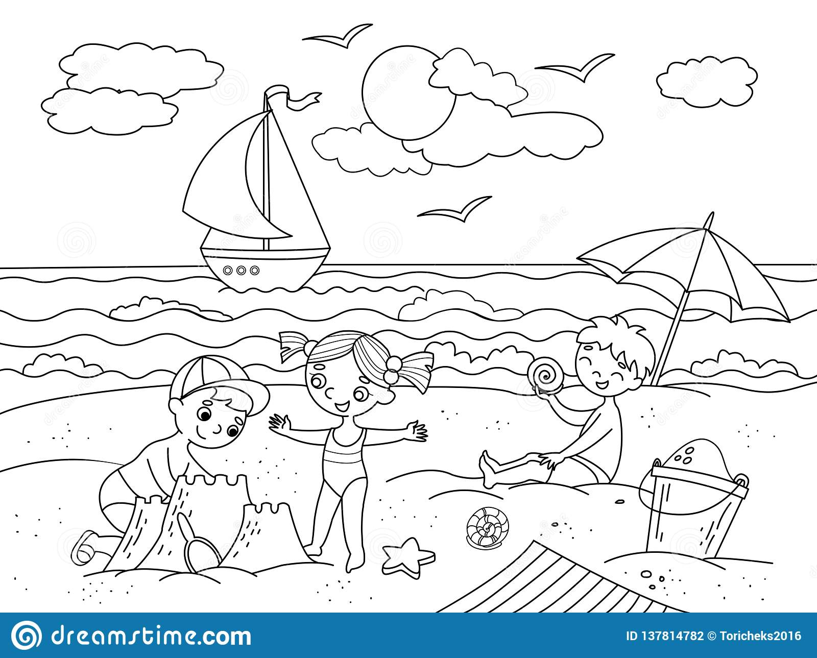Children Swimming At The Beach And Play With Toys ...