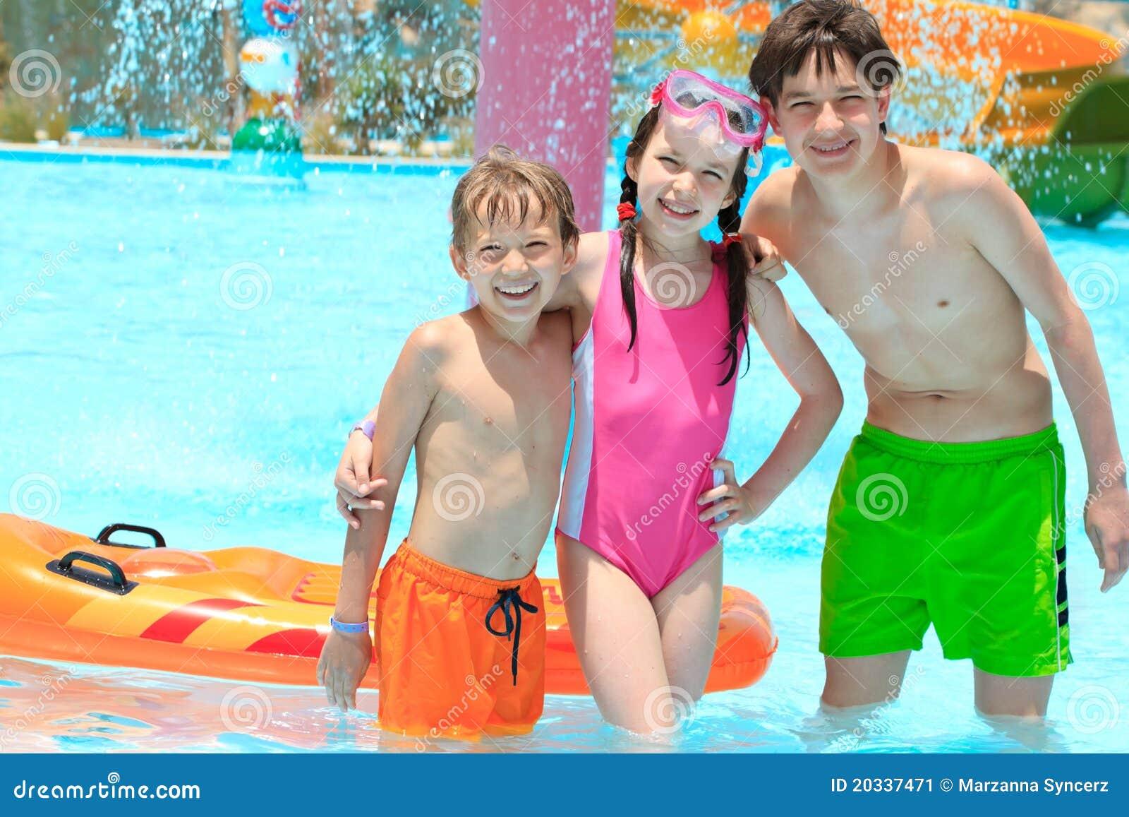 Three males at pool