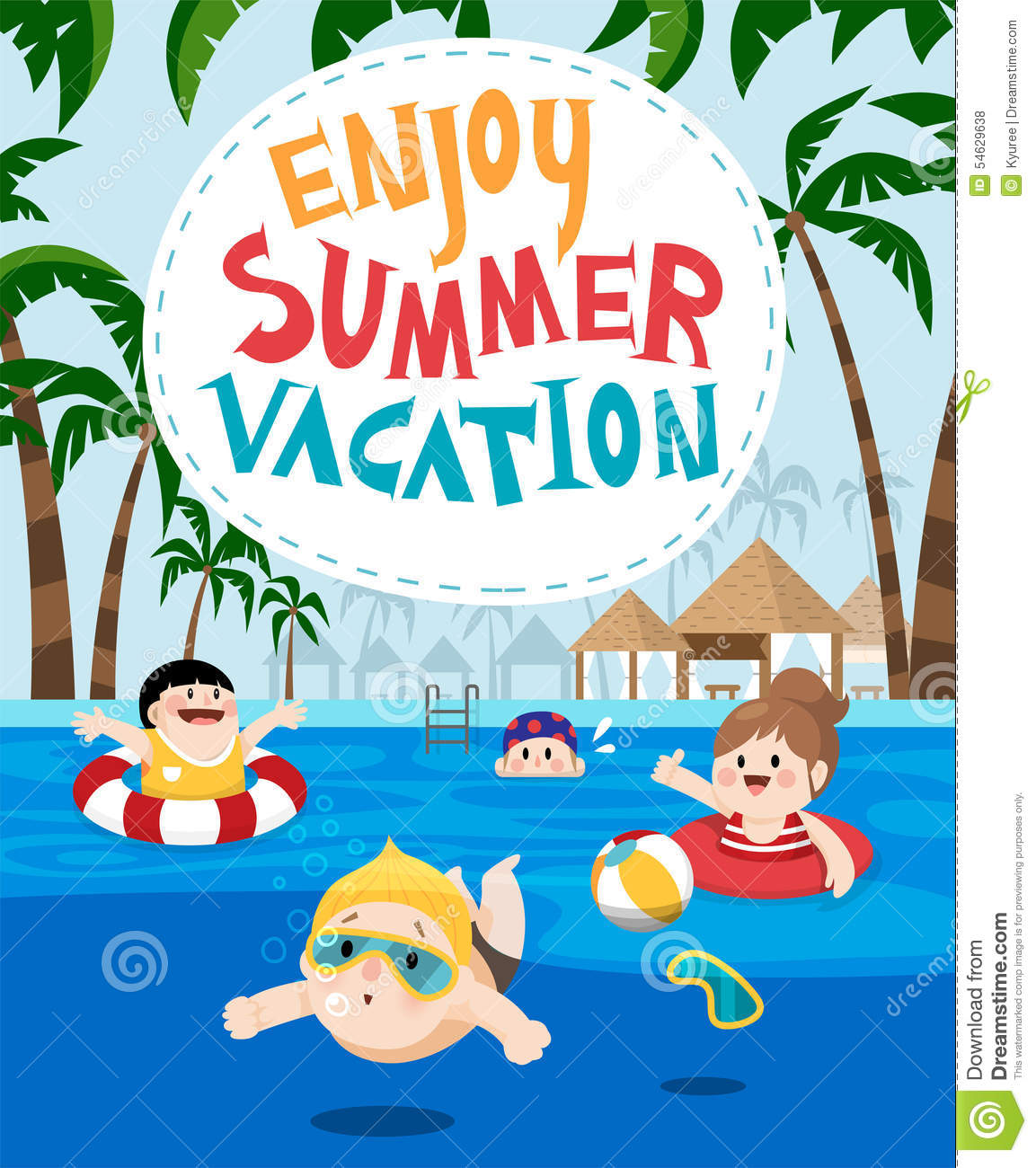 Children Swimming In A Resort For Summer Vacation Stock ...