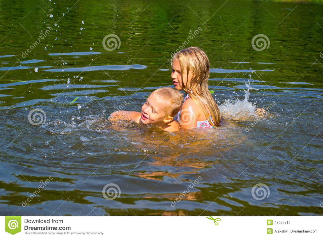 Children Swimming In The River Stock Photo - Image: 43055710
