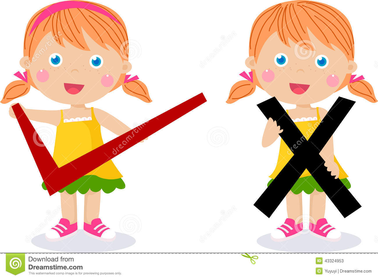 Children With Symbols Of Right And Wrong Stock Vector Illustration