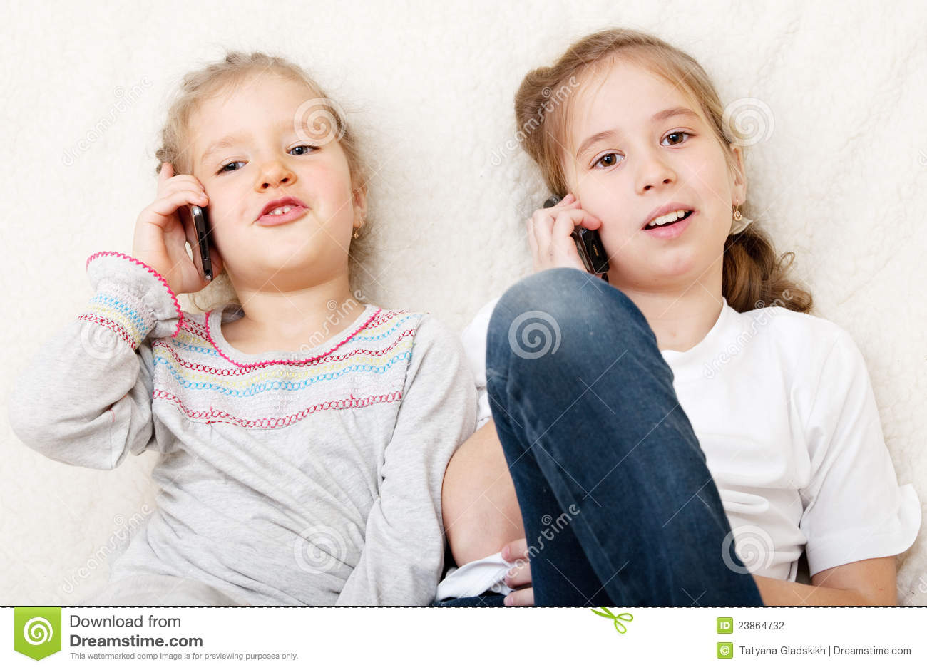 Children Talking On Mobile Phone Stock Photography - Image ...