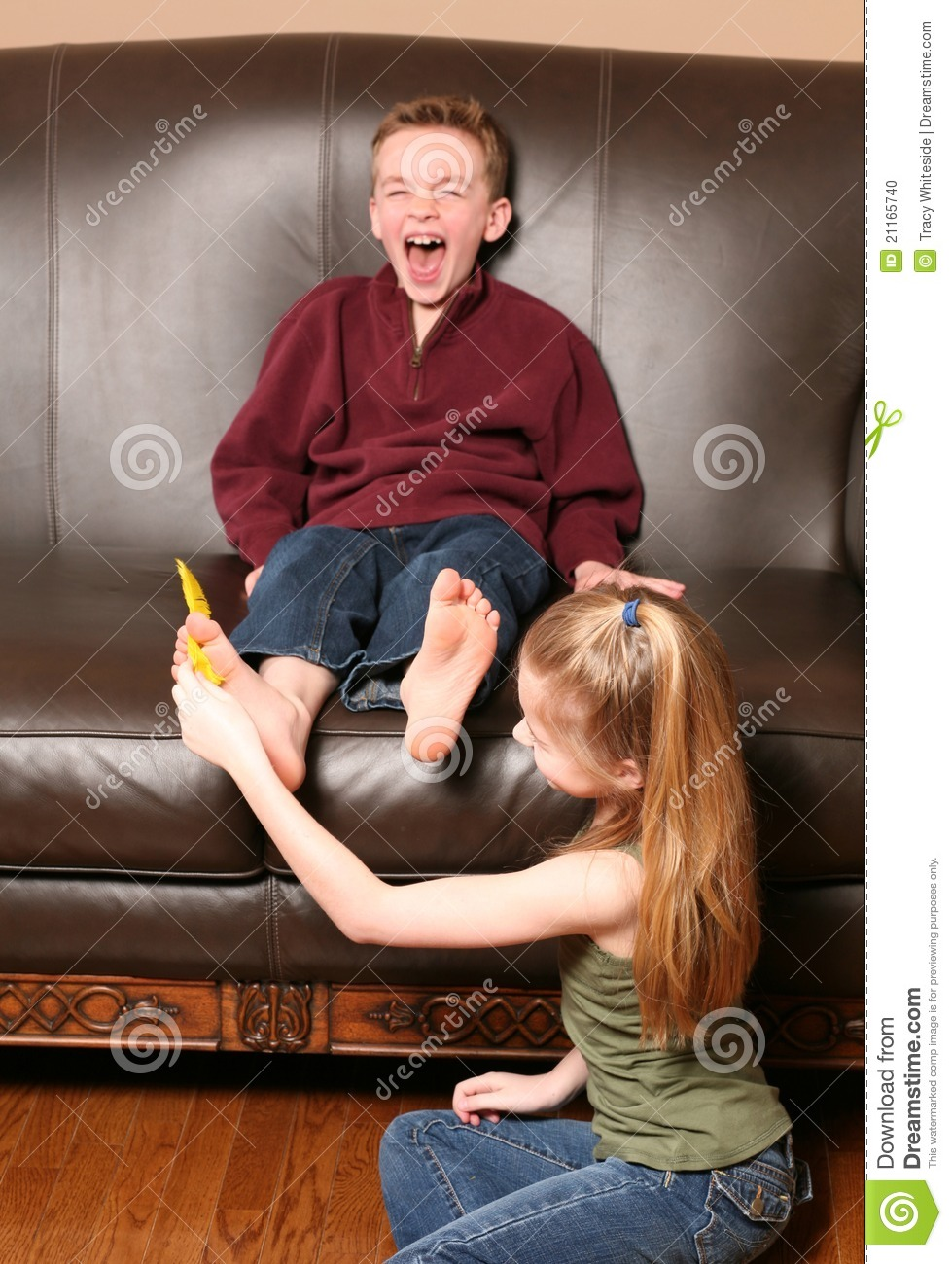 More similar stock images of ` Children tickling feet with feather `