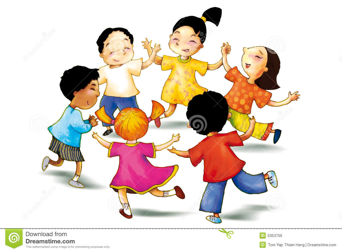 Concept illustration of children play together to show concept of