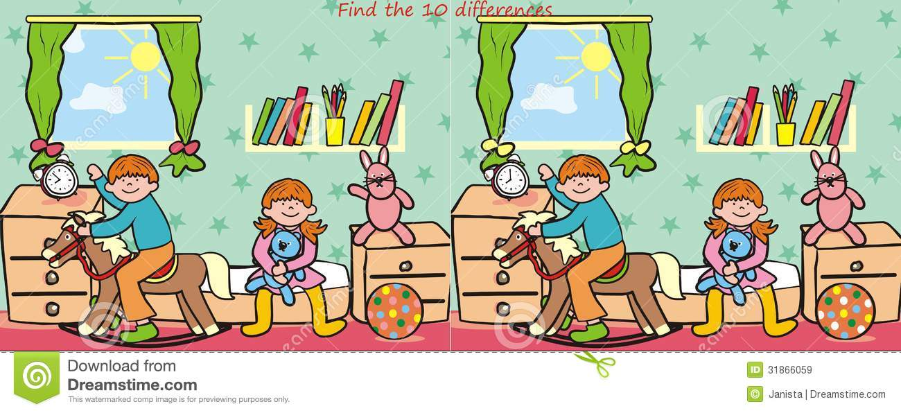 Children And Toy- Find 10 Differences Royalty Free Stock ...