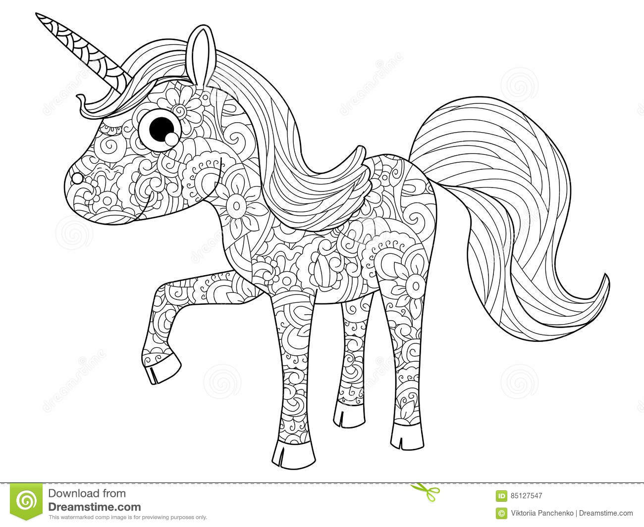 Children Toy Unicorn Coloring Vector For Adults Stock
