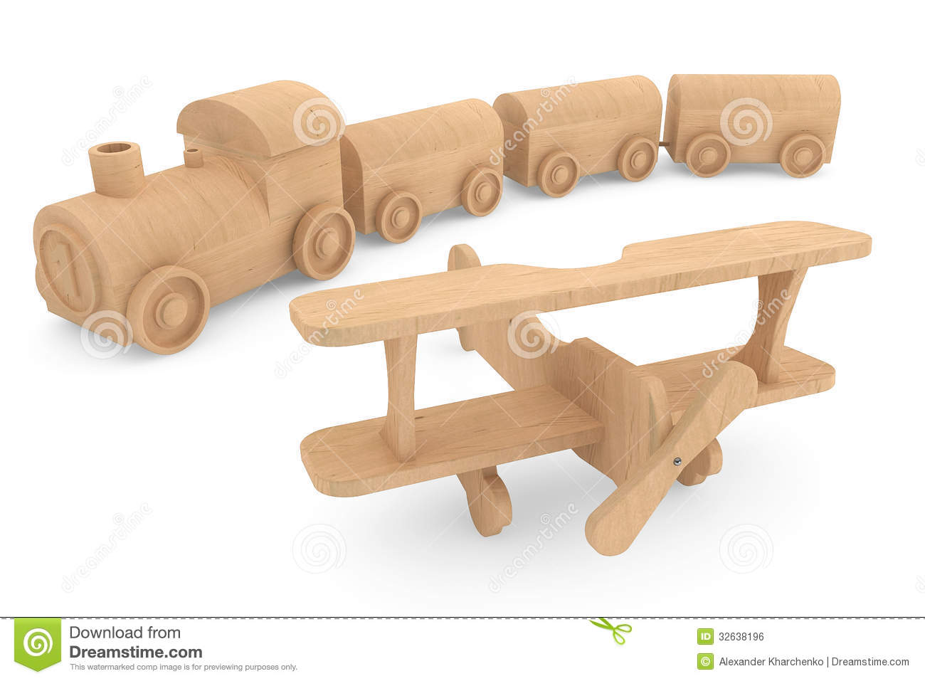 similar stock images of ` Children toy wooden train and airplane