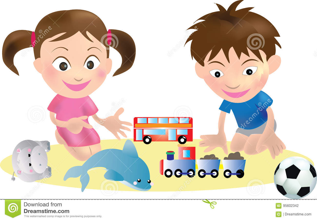 Children And Toys Vector Stock Illustration Illustration Of Holiday