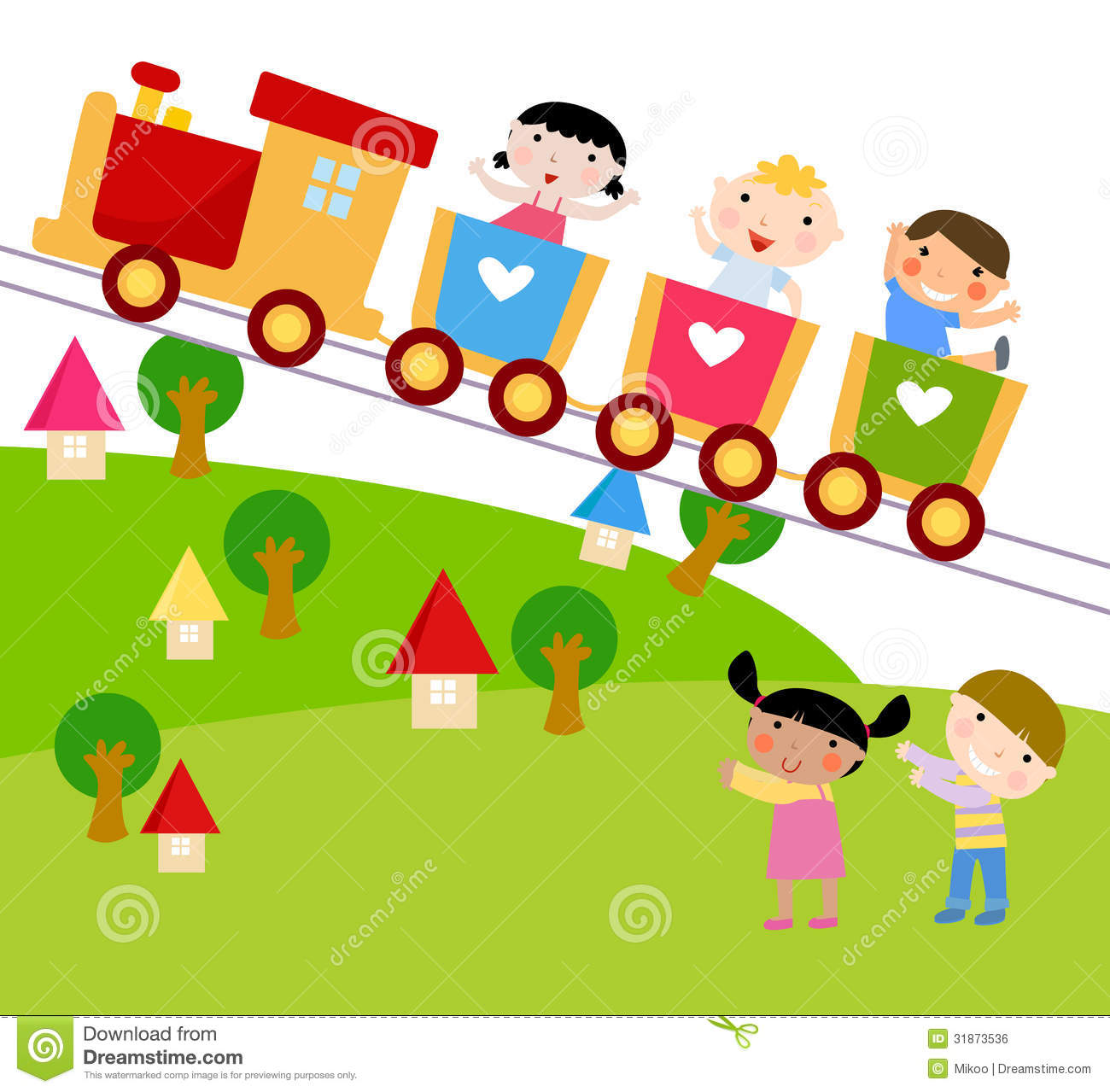 children on train waving their hands royalty free stock image