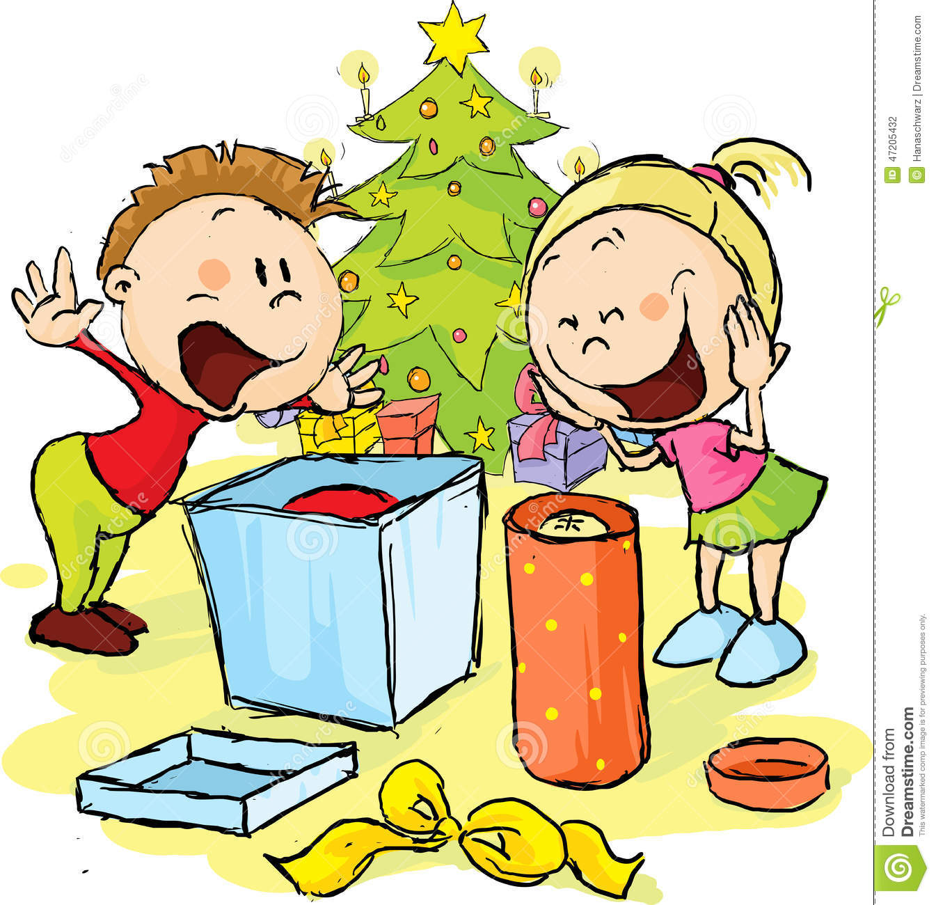 Children Under The Christmas Tree Unwrap Gifts Stock Vector ...