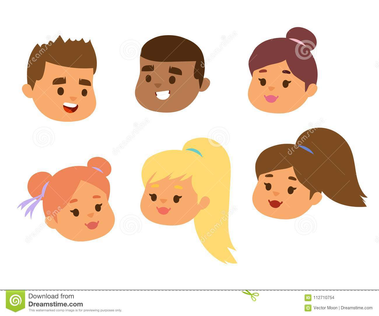 Children Vector Face Portrait Kids Character Girls Or Boys Face With