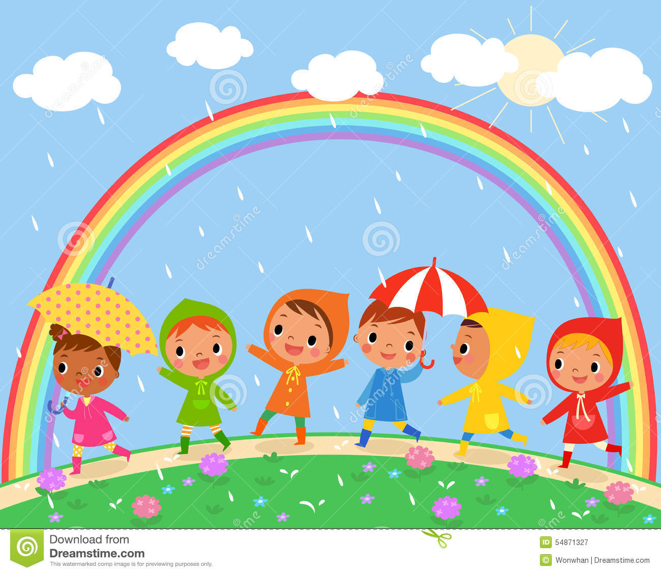 Children Walk On A Beautiful Rainy Day Stock Vector  Image: 54871327