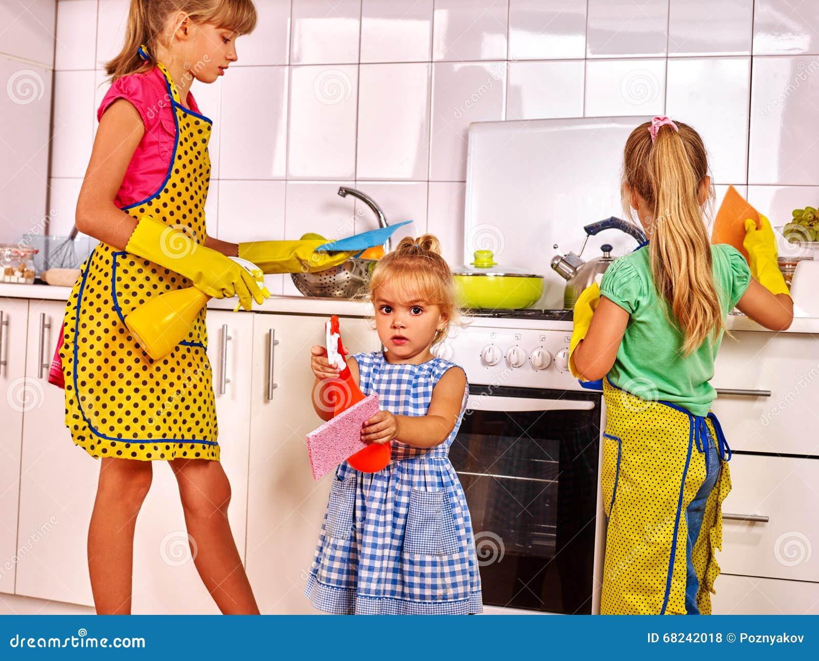 Children wash kitchen. stock photo. Image of clean, dish ...