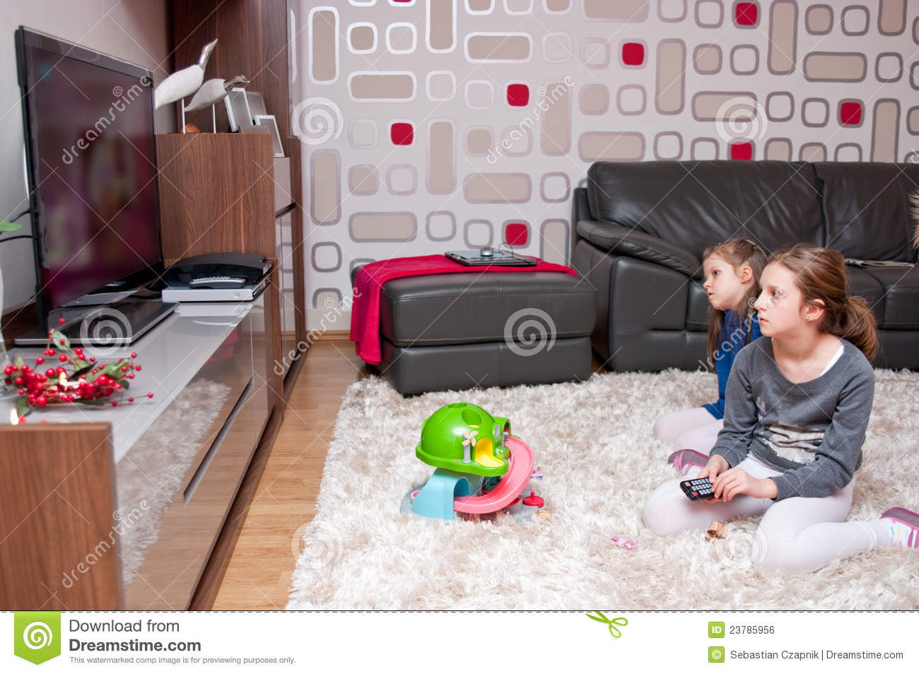 Children Watching Tv Stock Photo Image Of Sisters Watch
