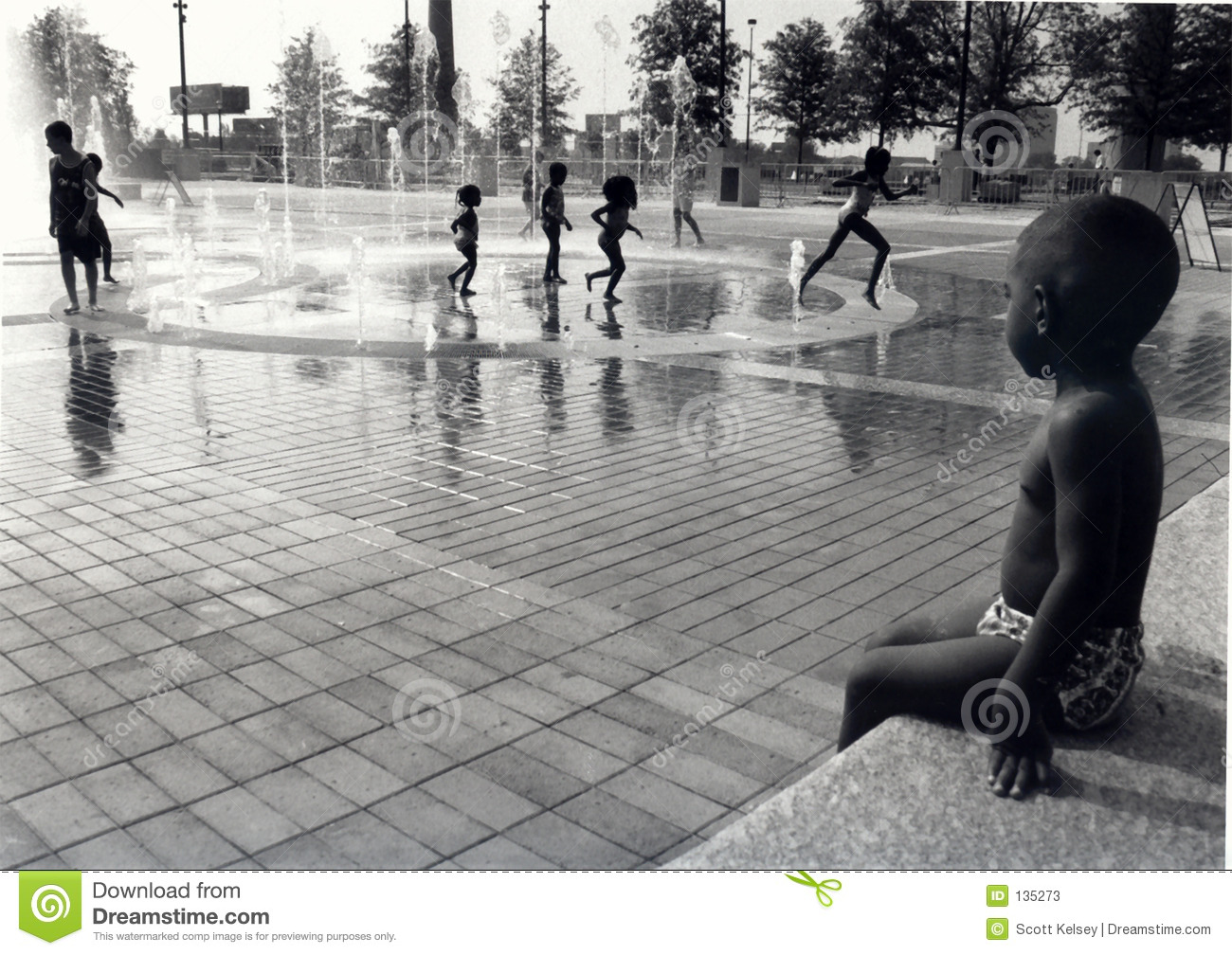 Children At A Water Park Stock Photos