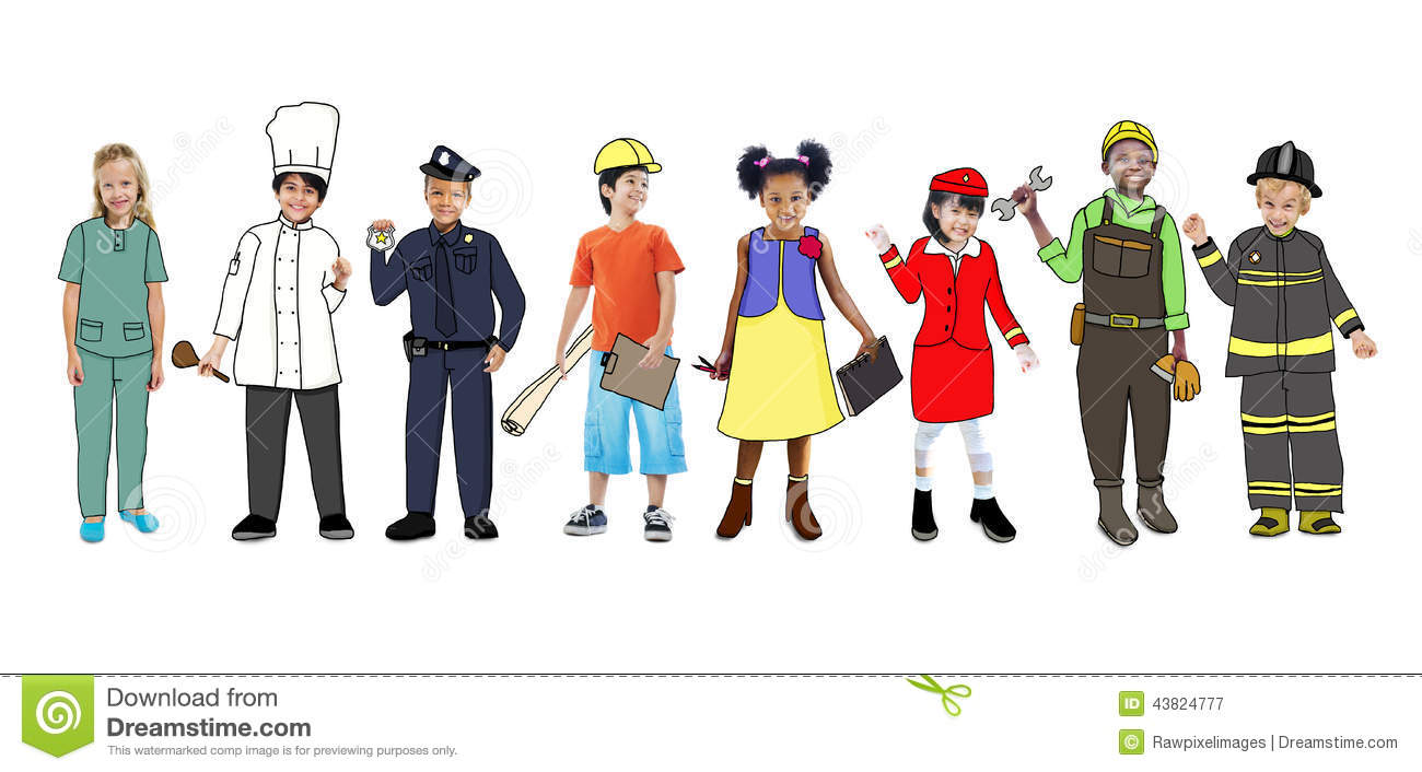 Art Jobs : Children wearing dream job uniforms stock illustration