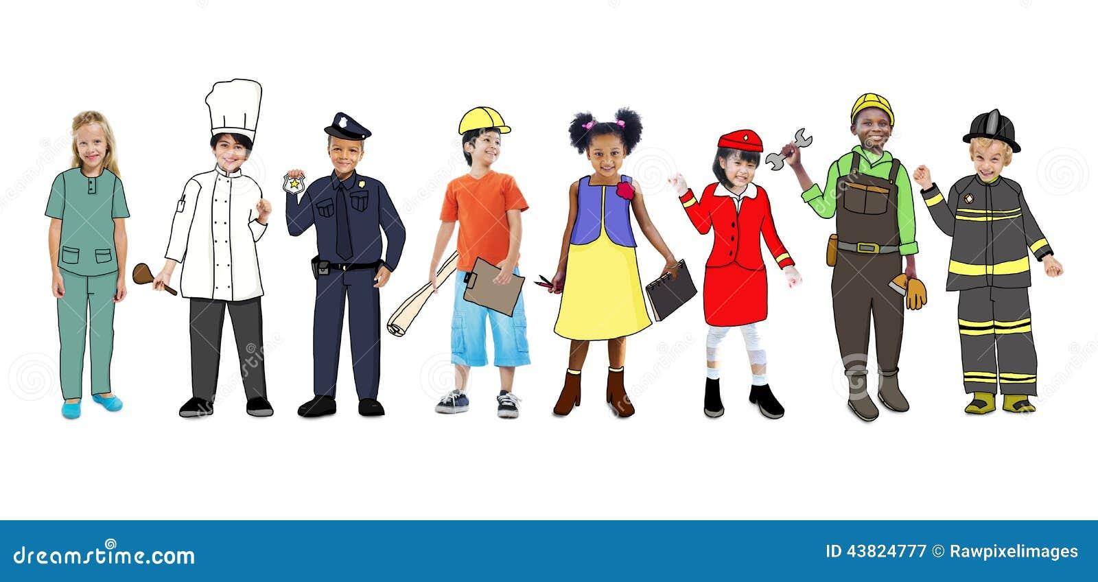 Art Jobs : Children wearing dream job uniforms stock illustration