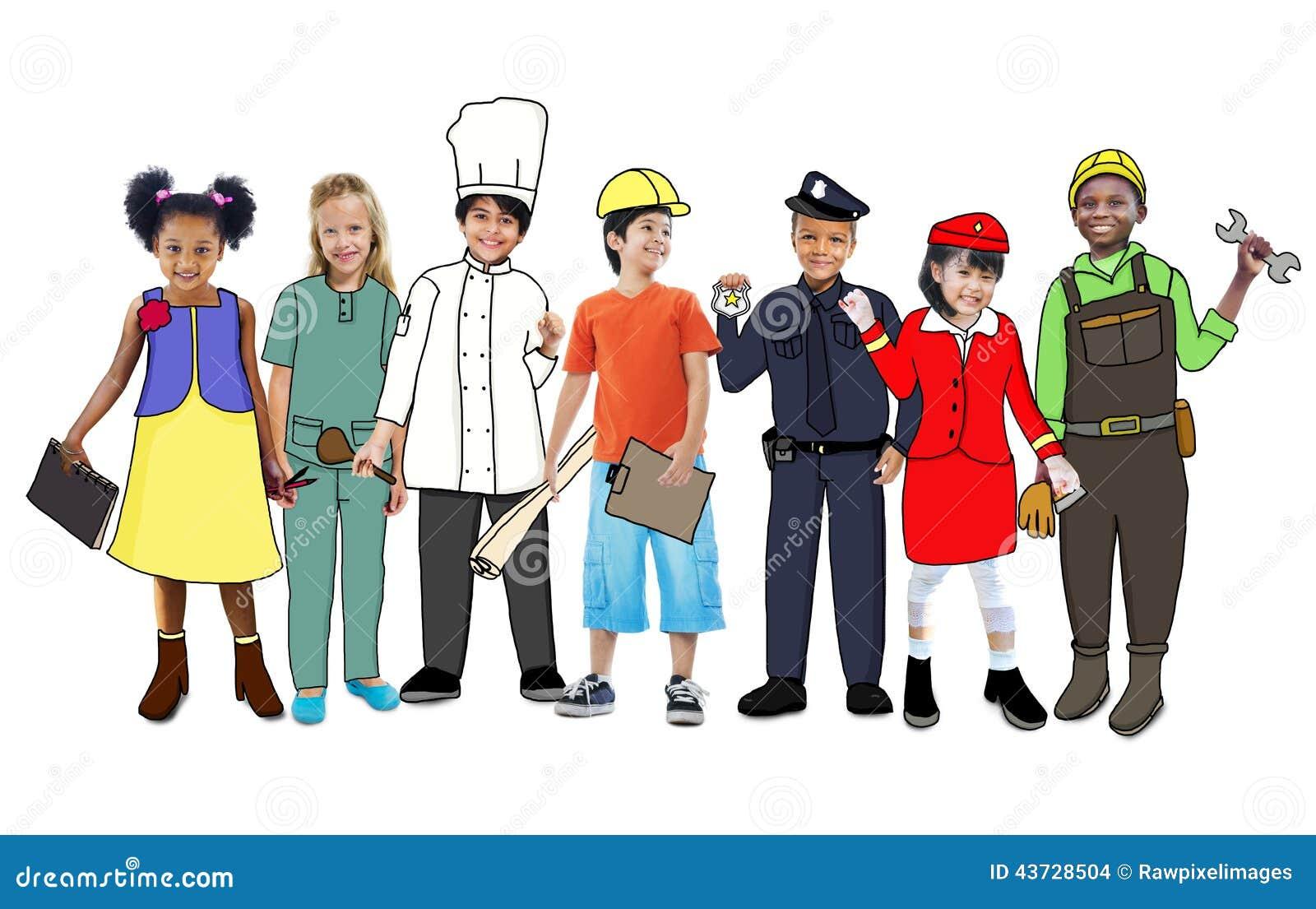 Children Wearing Future Job Uniforms Stock Illustration ...