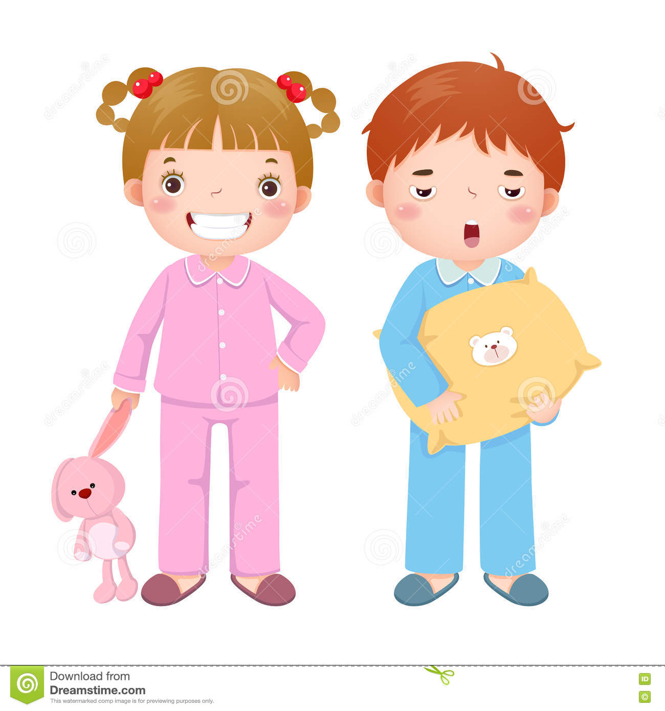 905554ffceebe Children wearing pajamas and getting ready to sleep. Vector illustration of  children wearing pajamas and