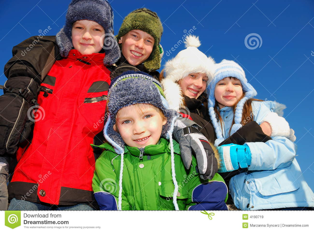 Children In Winter Clothing Royalty Free Stock Images - Image: 4190719