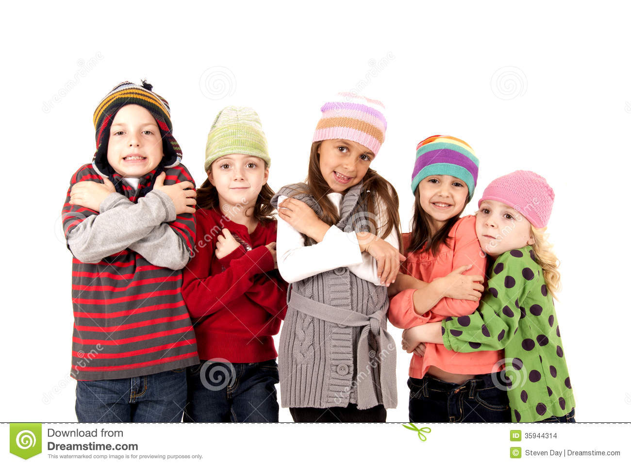 Children In Winter Hats Shivering Cold Stock Images ...