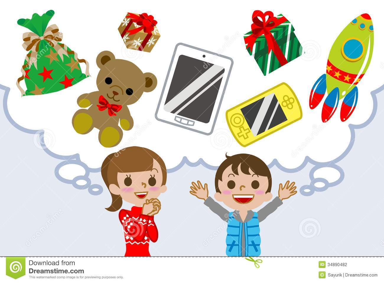 Kids Christmas Toy : Children wishing gift stock vector illustration of bubble