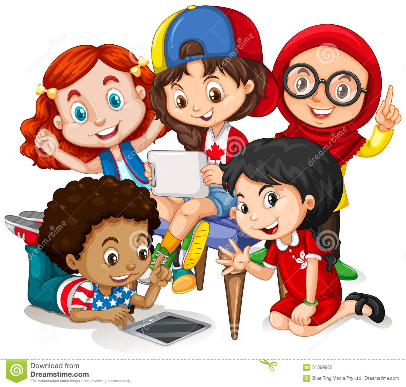 Children working in group stock vector. Illustration of ...