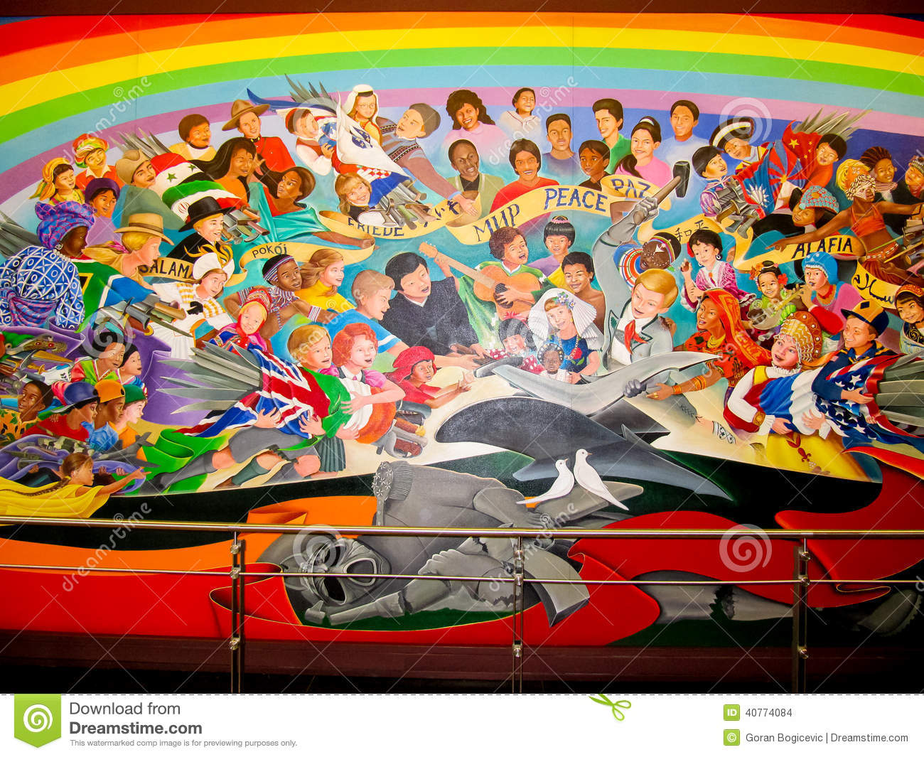 Children of the world dream of peace editorial stock image for Dia mural artist