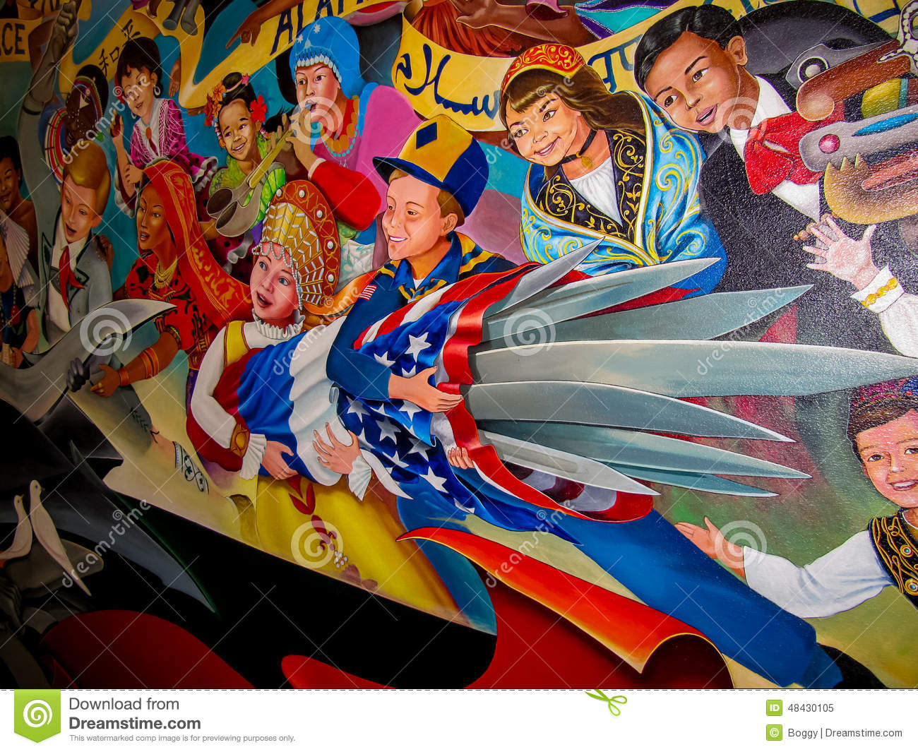 Denver Airport Wall Murals Children Of The World Dream Of Peace Editorial Image