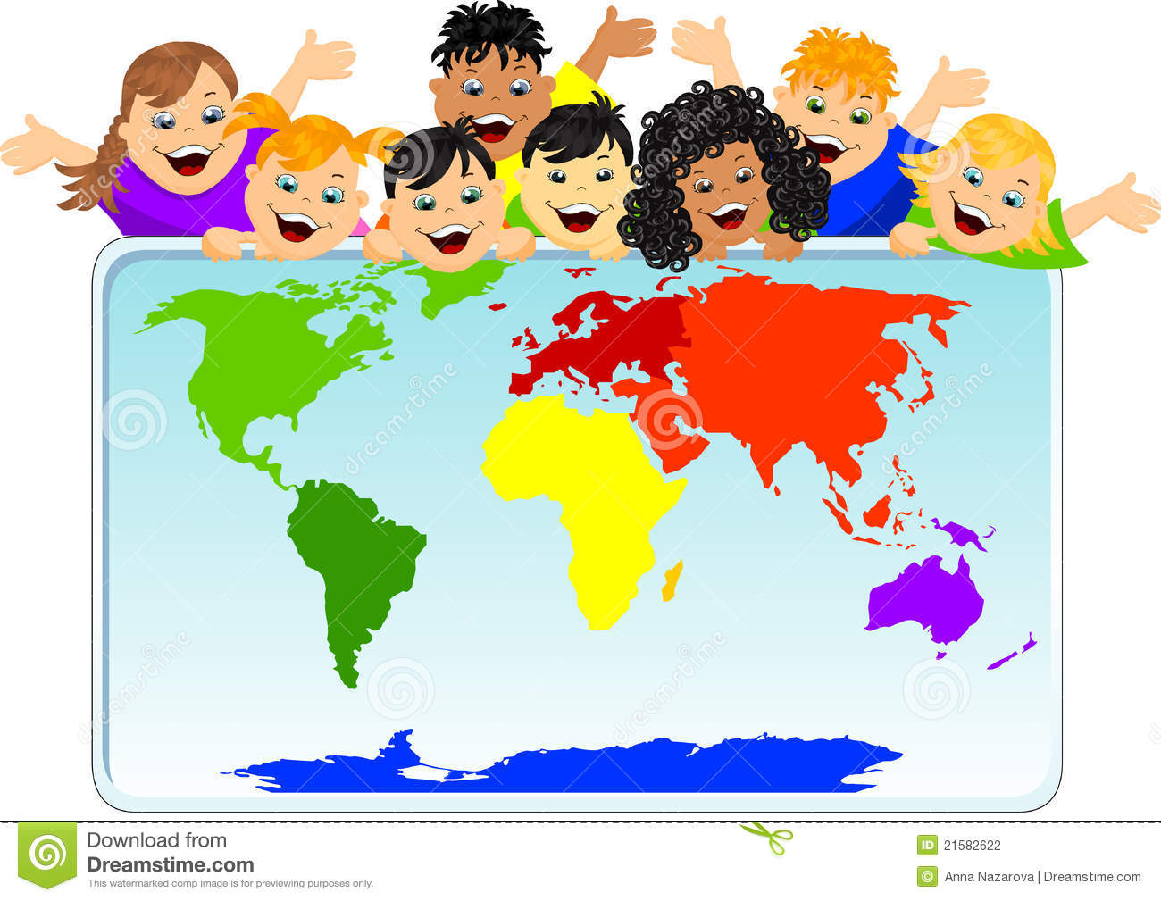 Children With A World Map Stock Illustration Illustration Of