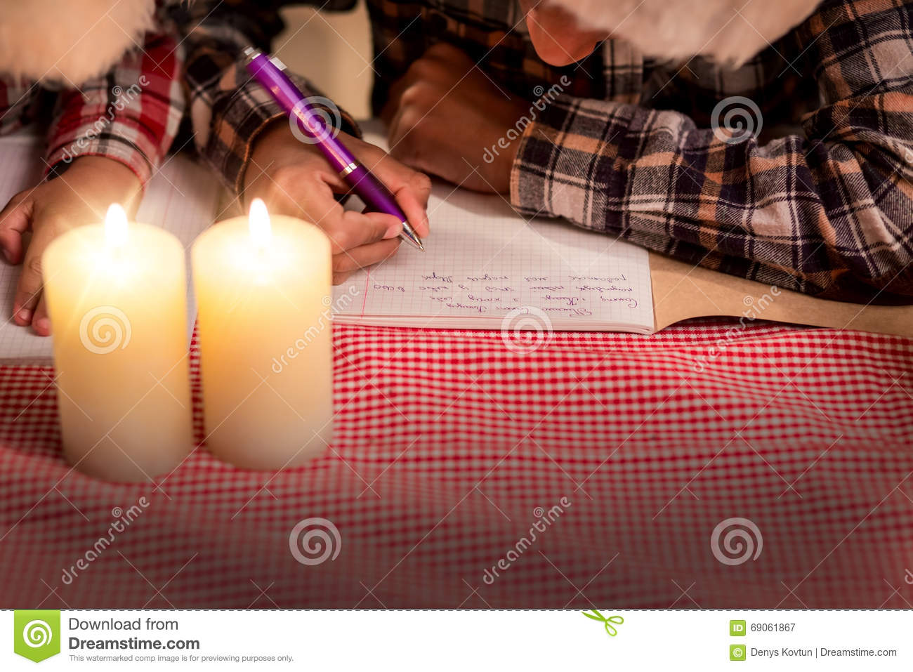 Children Write Letter On Christmas  Stock Image - Image of imagine