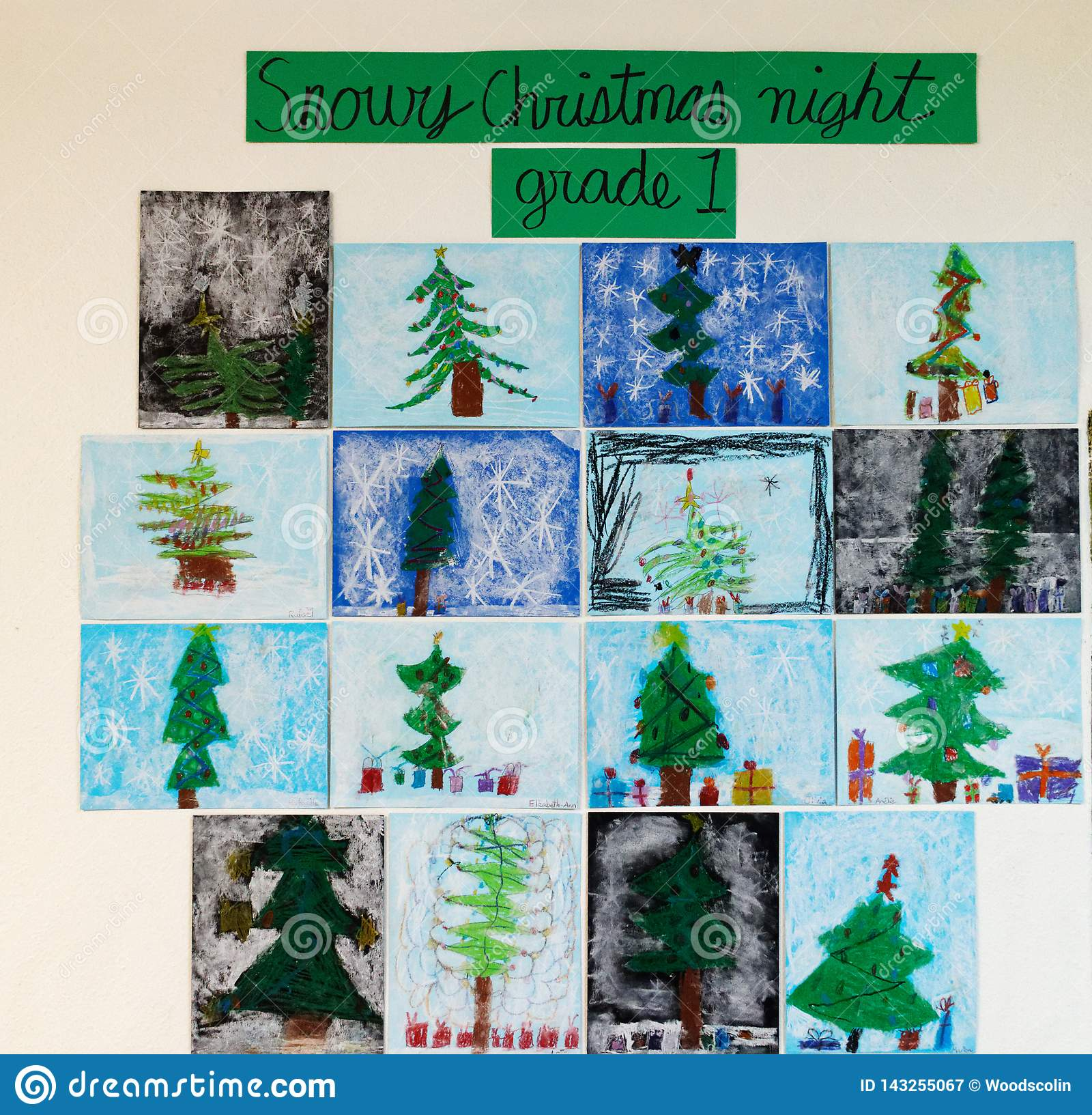 Childrens art - Snowy Christmas Night