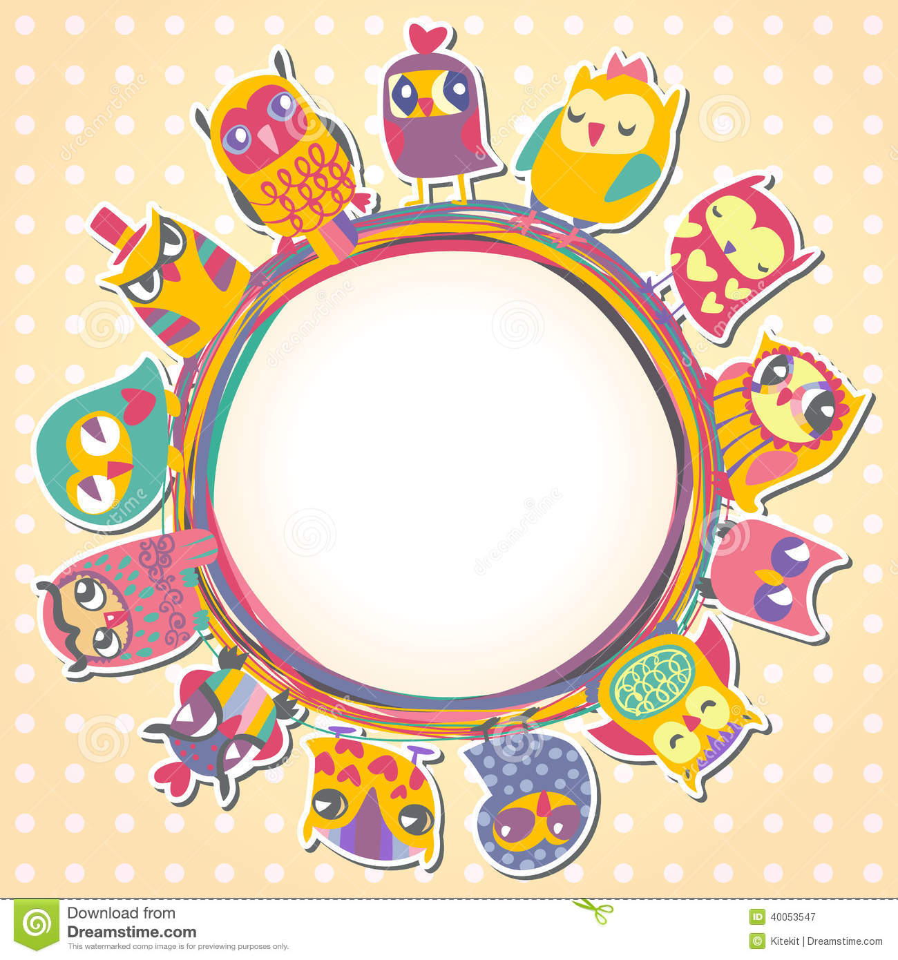 childrens background with multicolored cartoon owls stock vector  - childrens background with multicolored cartoon owls royalty free stockphotography