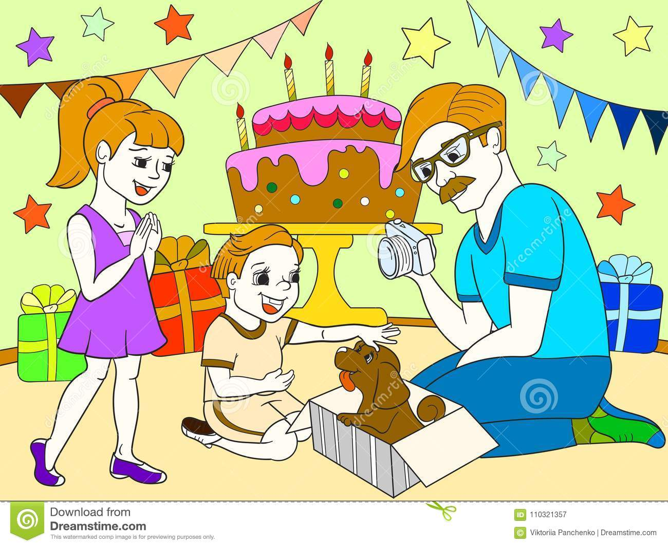 Childrens Cartoon Color Of The Holiday Birthday With Gifts A