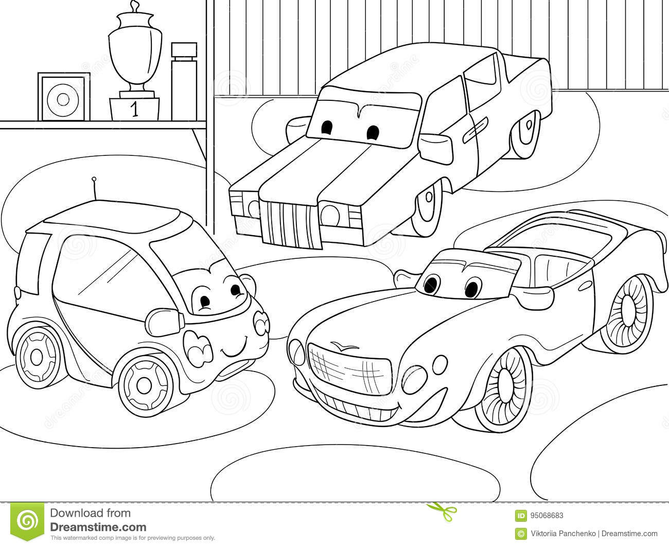 Childrens Cartoon Coloring Book For Boys. Vector Illustration Of A ...