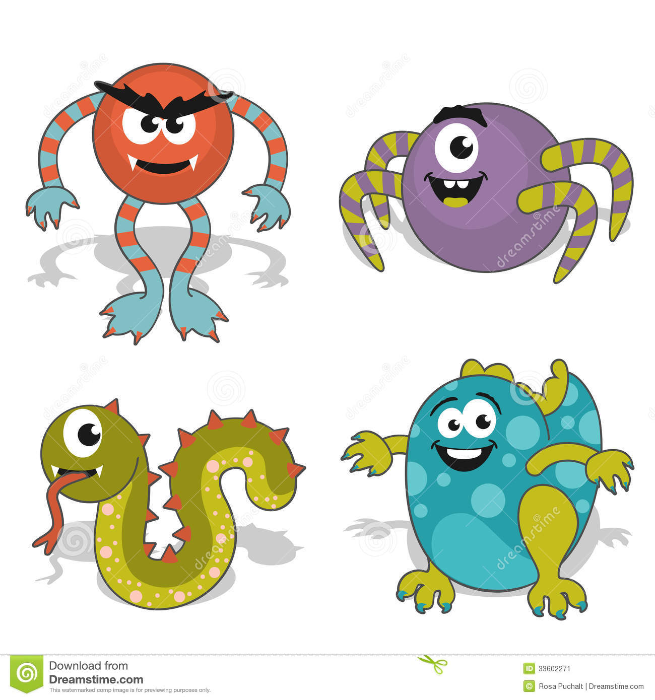 Character Drawings Portraits And Monsters: Childrens Cartoon Monster Stock Vector. Illustration Of