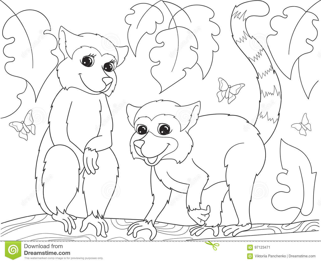Childrens Coloring Book Cartoon Family Of Lemurs On Nature. Stock ...