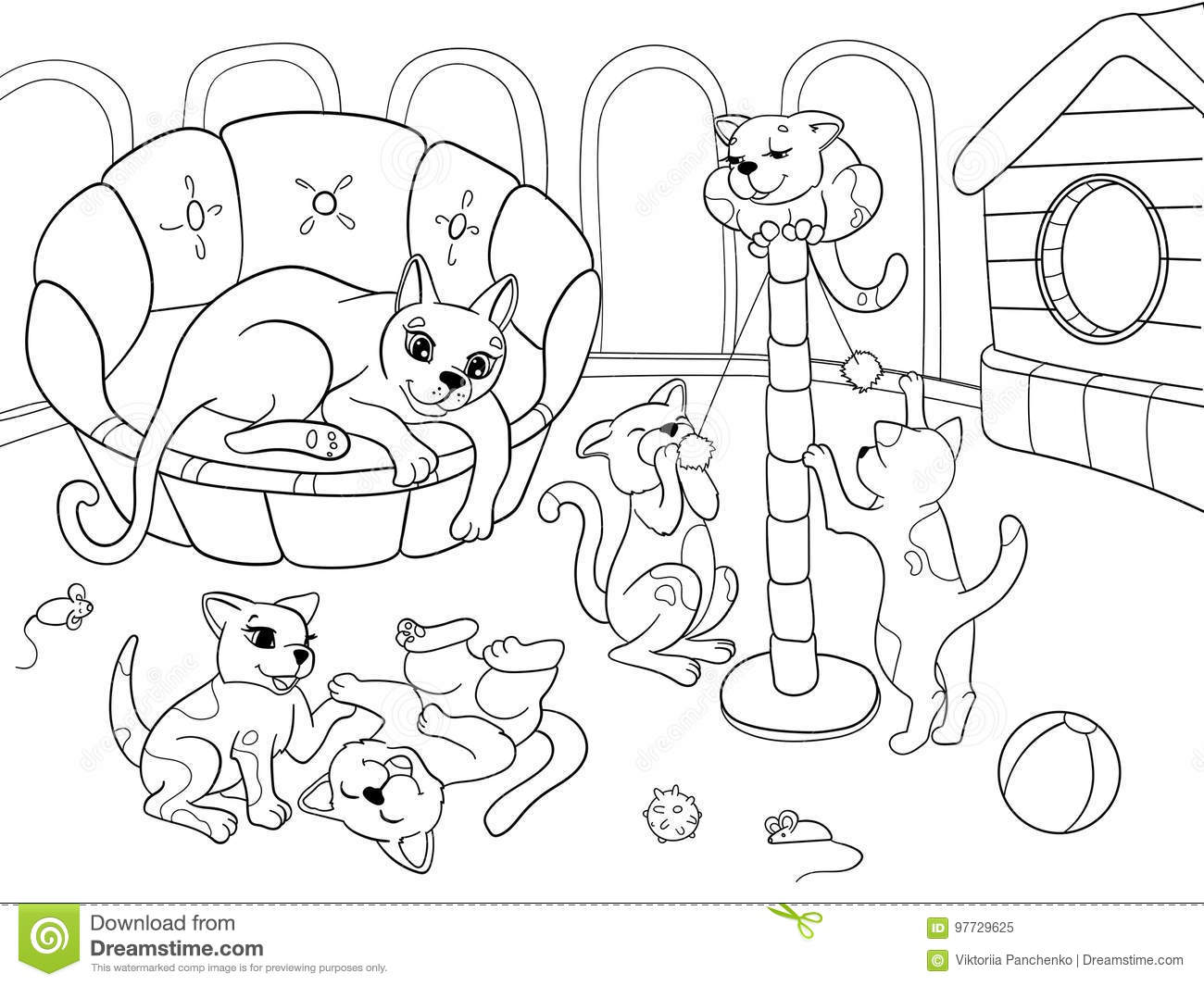 Download Childrens Coloring Book Cartoon Family On Nature Mom Cat And Kittens Children Stock Vector