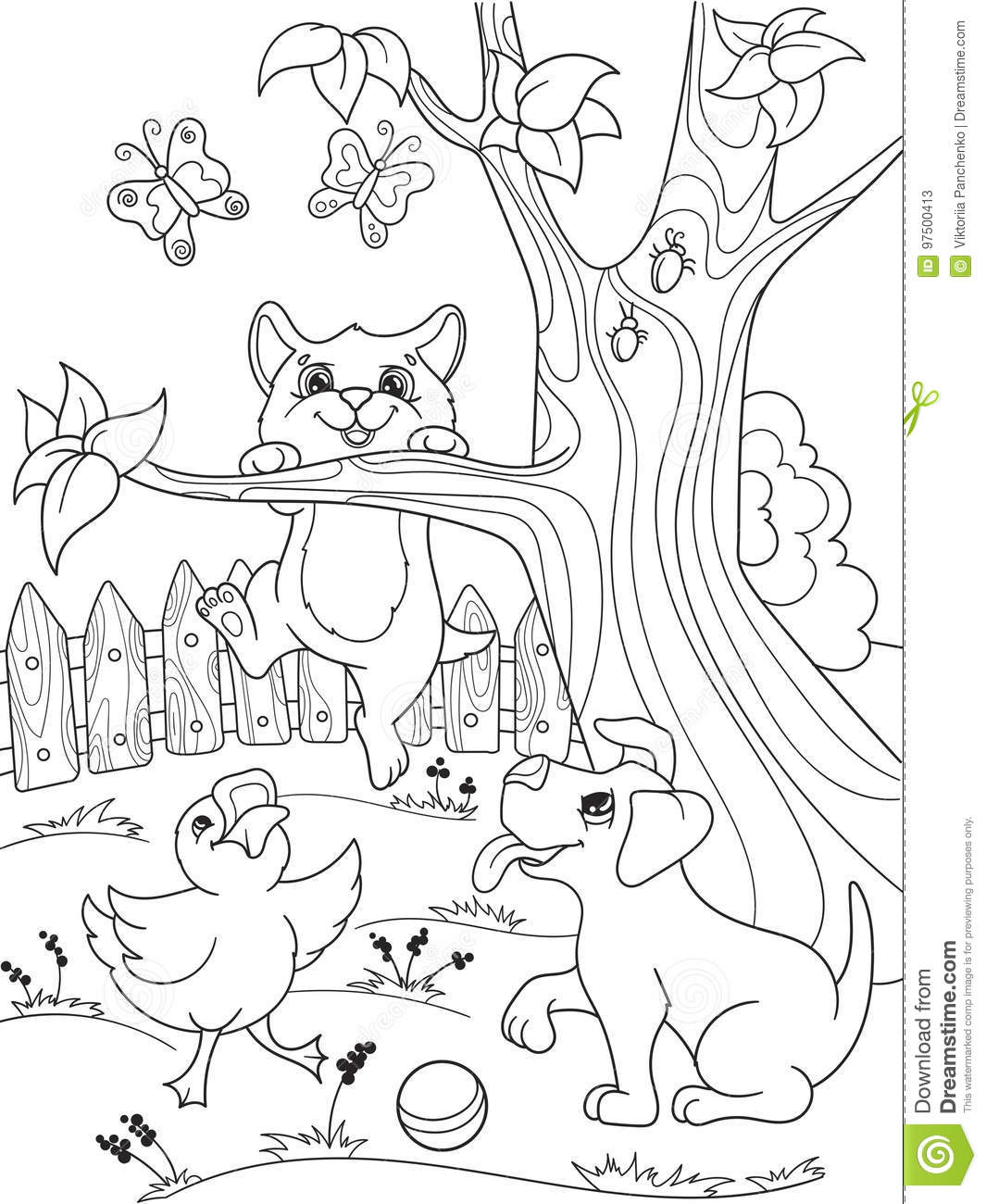 Childrens coloring cartoon animals friends in nature duckling puppy and kitten duck